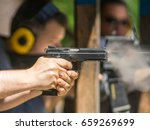 pistol shot  weapon recoil ...   Shutterstock . vector #659269699