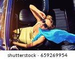 attractive woman sitting in...   Shutterstock . vector #659269954