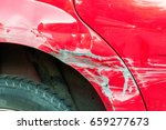 red scratched car with damaged... | Shutterstock . vector #659277673