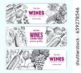 wines and gourmet snacks... | Shutterstock .eps vector #659278546