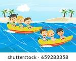 children having fun on banana... | Shutterstock . vector #659283358