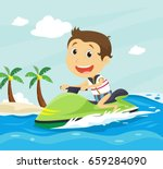 happy little boy riding jet ski ... | Shutterstock .eps vector #659284090