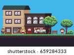 pixel art street with park ... | Shutterstock .eps vector #659284333