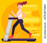 woman is running on a treadmill.... | Shutterstock .eps vector #659287084