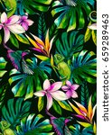 seamless tropical pattern with... | Shutterstock . vector #659289463