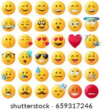 smileys emoticons vector set | Shutterstock .eps vector #659317246