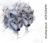 digital painting of two wolves  | Shutterstock . vector #659320690