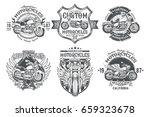 set vector black vintage badges ... | Shutterstock .eps vector #659323678