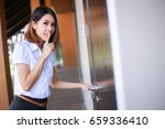 business woman catch and peek... | Shutterstock . vector #659336410