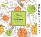 background with papaya and...   Shutterstock .eps vector #659339134