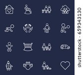 set of 16 family outline icons... | Shutterstock .eps vector #659343130