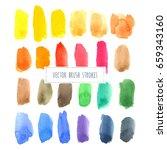 rainbow varied watercolor... | Shutterstock .eps vector #659343160