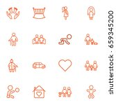 set of 16 family outline icons... | Shutterstock .eps vector #659345200