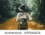 traveler woman with backpack...   Shutterstock . vector #659366626