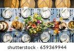 wedding reception table setting ... | Shutterstock . vector #659369944