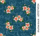 seamless floral pattern with... | Shutterstock .eps vector #659374924