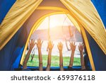 family camping relax and raise... | Shutterstock . vector #659376118