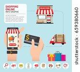 online shopping concept. mobile ... | Shutterstock .eps vector #659380660