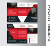 red triangle business trifold... | Shutterstock .eps vector #659391526