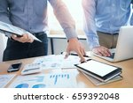 team work process. young... | Shutterstock . vector #659392048