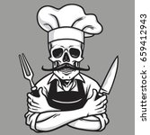 dead skull chef grinning with... | Shutterstock .eps vector #659412943