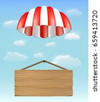 wood board sign with parachute...   Shutterstock .eps vector #659413720