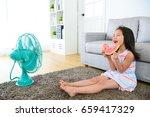 happy little girl children... | Shutterstock . vector #659417329