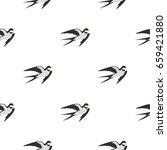 swallow pattern seamless flat... | Shutterstock .eps vector #659421880
