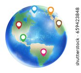 gps icon on a planet earth...   Shutterstock .eps vector #659423848