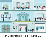 bank building and finance info... | Shutterstock .eps vector #659424520