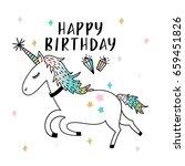 unicorn party illustration | Shutterstock .eps vector #659451826