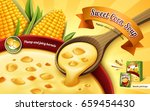 sweet corn soup ad  with cup... | Shutterstock .eps vector #659454430
