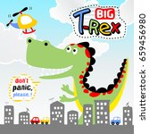 big dinosaurs in the city ... | Shutterstock .eps vector #659456980