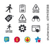 caution wet floor icons. human...