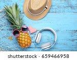 ripe pineapple with sunglasses  ...   Shutterstock . vector #659466958