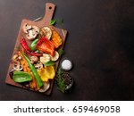 grilled vegetables on cutting...   Shutterstock . vector #659469058