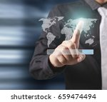 globe  earth in human hand ... | Shutterstock . vector #659474494