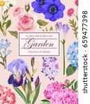 vintage card with garden flowers | Shutterstock .eps vector #659477398