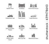baku landmarks   icon set for... | Shutterstock .eps vector #659478643