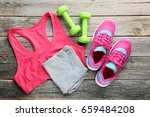 pink sport shoes with... | Shutterstock . vector #659484208