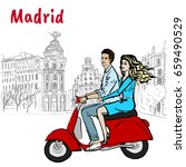 man and woman driving scooter... | Shutterstock . vector #659490529