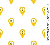 yellow map pointer with church  ... | Shutterstock .eps vector #659490910