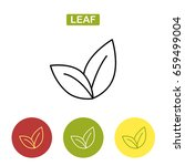 tea leaves. thin line leaf icon.... | Shutterstock . vector #659499004