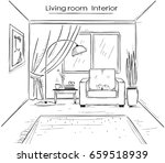interior sketchy illustration... | Shutterstock . vector #659518939