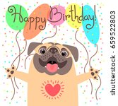 cute happy birthday card with... | Shutterstock .eps vector #659522803