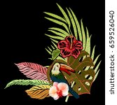 tropical leaves. exotic blossom ... | Shutterstock .eps vector #659526040