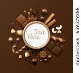 vector chocolate flat lay frame ... | Shutterstock .eps vector #659529388