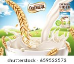 instant oatmeal ad  with milk... | Shutterstock .eps vector #659533573