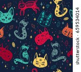 witch's cat seamless pattern.... | Shutterstock .eps vector #659534014