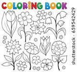 coloring book flower topic 2  ... | Shutterstock .eps vector #659542429